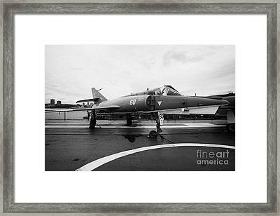 Dassault Etendard Iv M Ivm On Display On The Flight Deck At The Intrepid Sea Air Space Museum Usa Framed Print