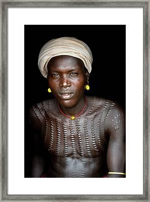 Dassenech Man With Body Scarification Framed Print