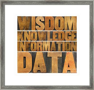 Data Information Knowledge And Wisdom Framed Print by Marek Uliasz