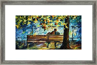 Date On The Bench Framed Print