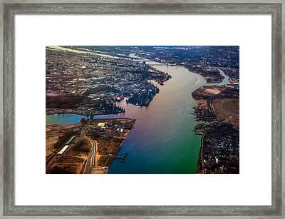 Daugawa River. Riga. Latvia. Rainbow Earth Framed Print