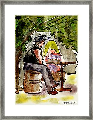 Daughter And Father Framed Print by Brett Shand