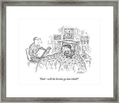 Daughter Asking About Bedtime Story Framed Print