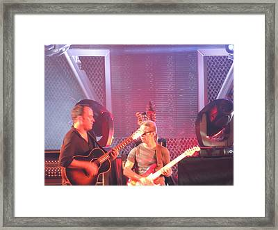 Dave And Tim Jam On The Guitar Framed Print by Aaron Martens