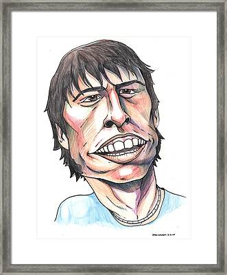 Framed Print featuring the drawing Dave Grohl Caricature by John Ashton Golden