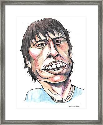 Dave Grohl Caricature Framed Print by John Ashton Golden