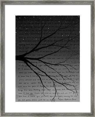 Dave Matthews Band Crush Lyric Art - Black And White Framed Print