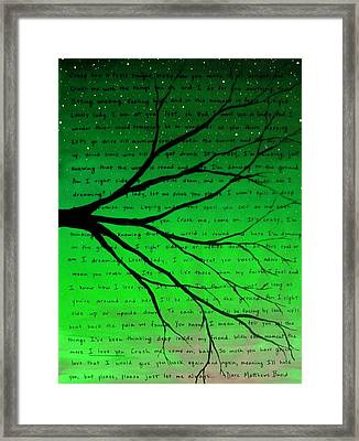 Dave Matthews Band Crush Lyric Art - Green Framed Print