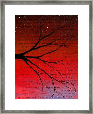 Dave Matthews Band Crush Lyric Art - Red Framed Print