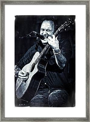 Dave Matthews On Acoustic Guitar In Blue And Black  Framed Print
