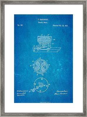 Davenport Electric Motor Patent 1837 Blueprint Framed Print