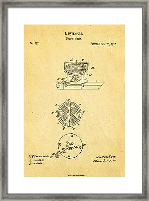 Davenport Electric Motor Patent 1837 Framed Print by Ian Monk