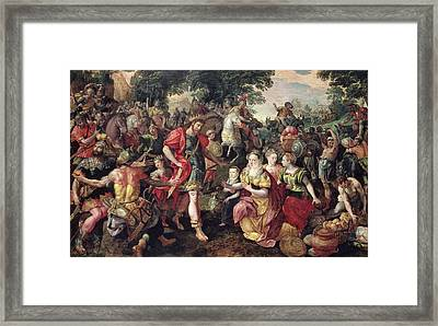 David And Abigail Or Alexander And The Family Of Darius Oil On Panel Framed Print