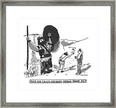 David And Goliath And David's Personal Trainer Framed Print by Michael Crawford