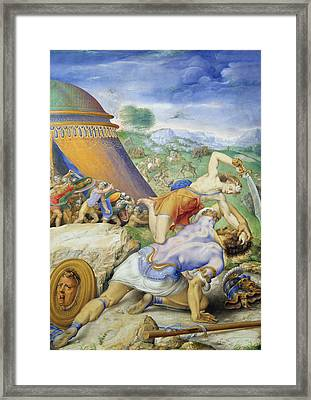 David And Goliath Framed Print by Giorgio Giulio Clovio