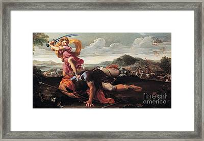 David And Goliath Framed Print by Celestial Images
