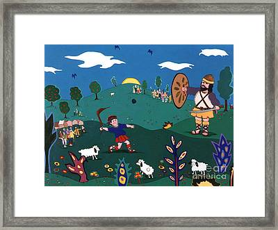 David And Goliath Framed Print