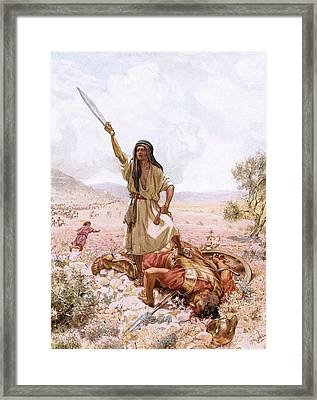David And Goliath Framed Print by William Brassey Hole