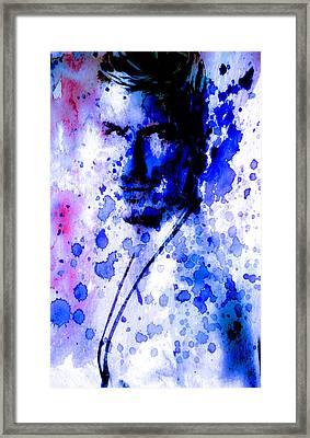 David Becham Watercolor Paint Splatter  Framed Print