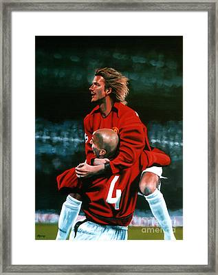 David Beckham And Juan Sebastian Veron Framed Print