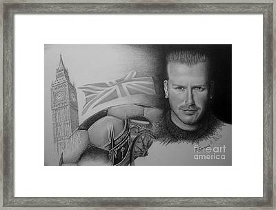 Framed Print featuring the drawing David Beckham by Geni Gorani