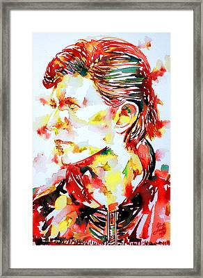 David Bowie Watercolor Portrait.1 Framed Print by Fabrizio Cassetta
