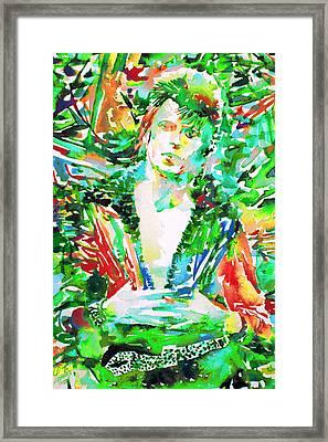 David Bowie Watercolor Portrait.2 Framed Print