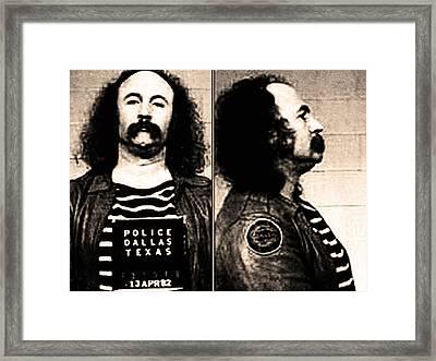 David Crosby Mug Shot Framed Print by Bill Cannon