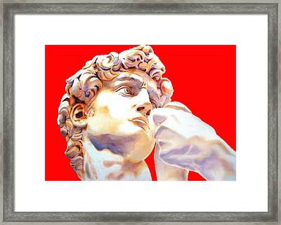 David Face By Michelangelo   Red Framed Print by J- J- Espinoza