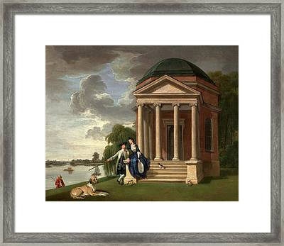 David Garrick And His Wife By His Temple To Shakespeare Framed Print