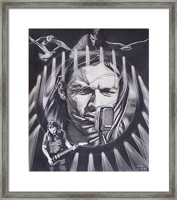 David Gilmour Of Pink Floyd - Echoes Framed Print by Sean Connolly