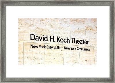 David H. Koch Theater Framed Print by Valentino Visentini