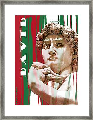 David - Michelangelo - Stylised Modern Drawing Art Sketch  Framed Print by Kim Wang