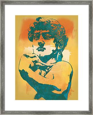 David - Michelangelo - Stylised Modern Pop Art Poster Framed Print by Kim Wang