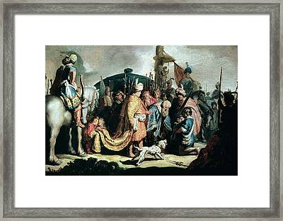 David Offering The Head Of Goliath To King Saul, 1627 Oil On Panel Framed Print by Rembrandt Harmensz. van Rijn