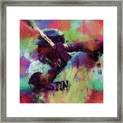 David Ortiz Abstract Framed Print by David G Paul