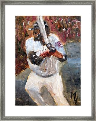 David Ortiz Stepping Into The Pitch Framed Print by Michael Helfen