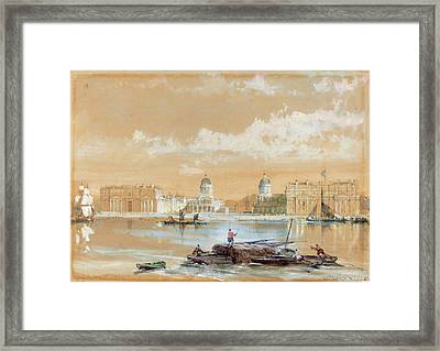 David Roberts Scottish, 1796-1864, The Naval College Framed Print by Litz Collection