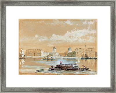 David Roberts Scottish, 1796 - 1864, The Naval College Framed Print by Quint Lox