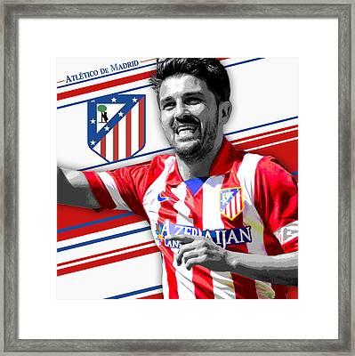David Villa Atletico Madrid Print Framed Print