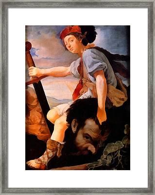 David With The Head Of Goliath Framed Print by Thomas Flatman