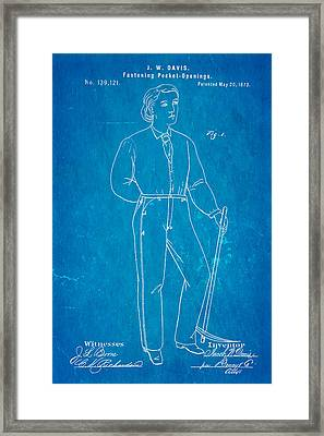 Davis Original Levi's Patent Art 1873 Blueprint Framed Print
