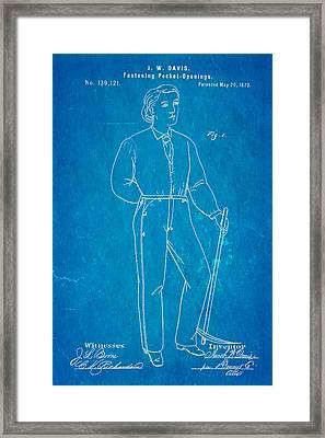 Davis Original Levi's Patent Art 1873 Blueprint Framed Print by Ian Monk