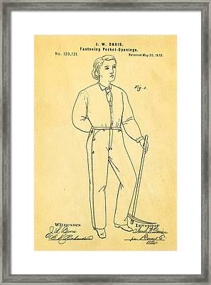 Davis Original Levi's Patent Art 1873 Framed Print by Ian Monk