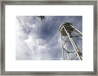 Davis Water Tower Framed Print by Juan Romagosa