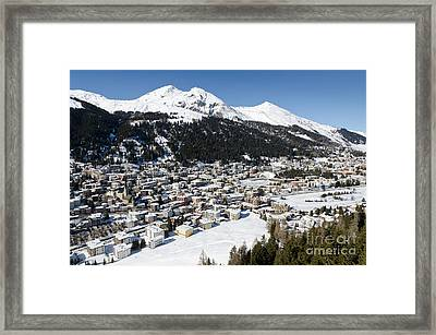 Davos Platz Mountains Parsenn And Town Framed Print by Andy Smy