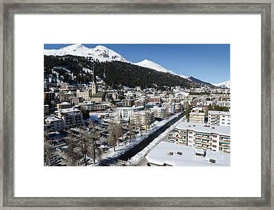 Davos River Town Switzerland Framed Print