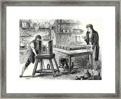 Davy Decomposes Alkali With The Battery Of Volta 1807 Framed Print by English School