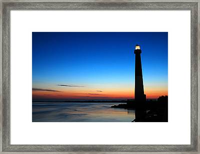 Framed Print featuring the photograph Dawn At Barnegat Light by James Kirkikis
