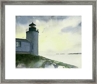 Dawn At Bass Harbor Lighthouse Framed Print